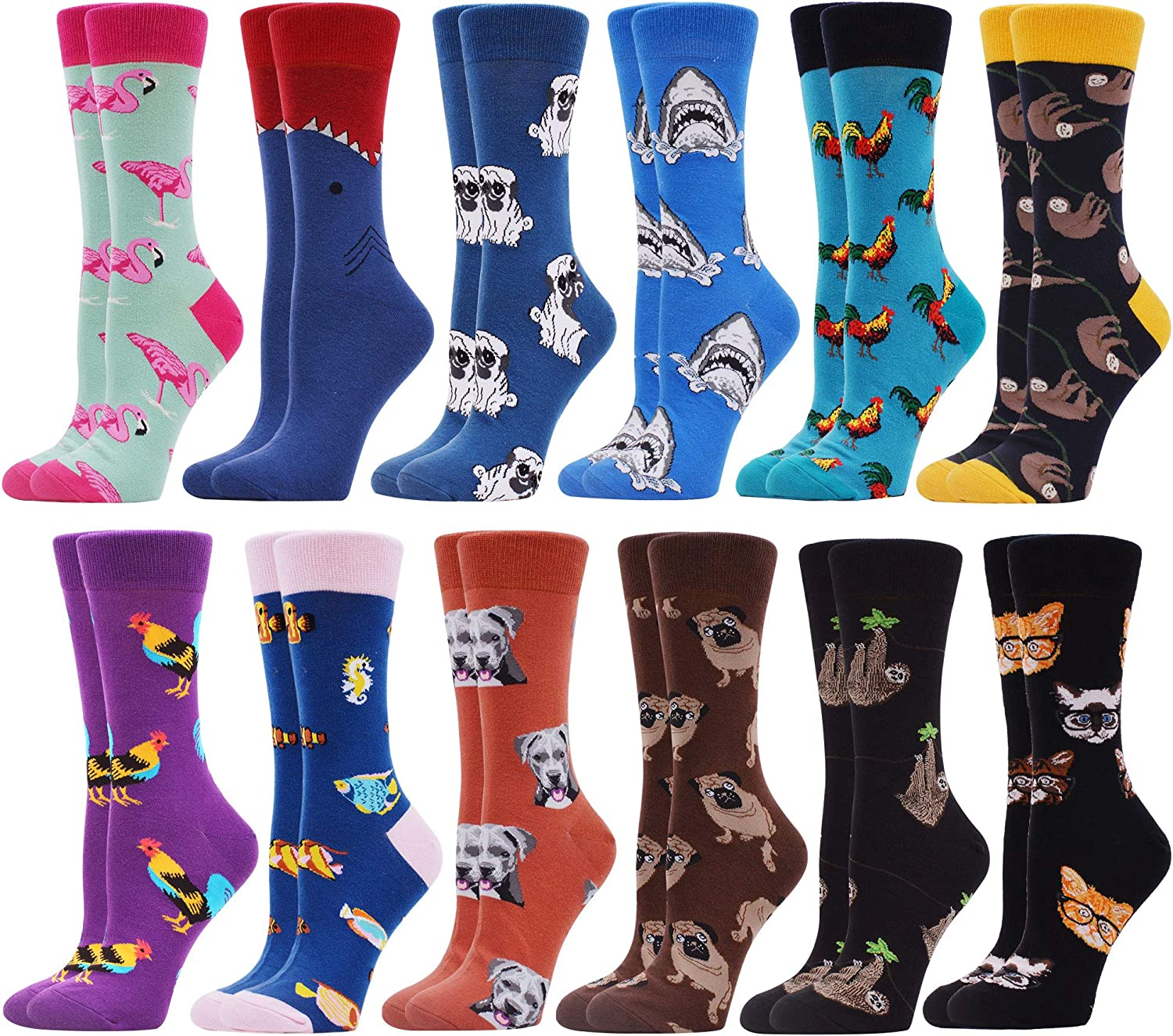 WeciBor Womens Funny Printed Casual Combed Cotton Crew Socks Packs