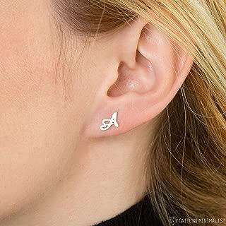 Dainty Initial Earrings by Caitlyn Minimalist in Sterling Silver, Gold & Rose Gold Custom Name Earrings