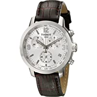 Tissot PRC 200 Chronograph Silver Dial Brown Leather Men's Watch