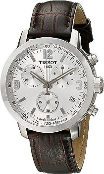 Tissot PRC 200 Chronograph Silver Dial Brown Leather Men's Watch