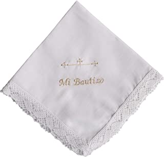 Pañuelo bautizo bordado en color beige 35x35 cm
