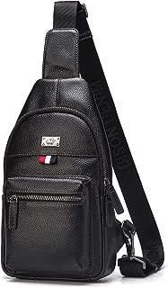 BISON DENIM Genuine Leather Sling Shoulder Backpack Crossbody Sling Bag Front Cross Body for Men