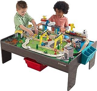 KidKraft 18026 My Own City-fordon och spelbord med EZ Kraft Assembly järnvägsspårsats och träbord, grå