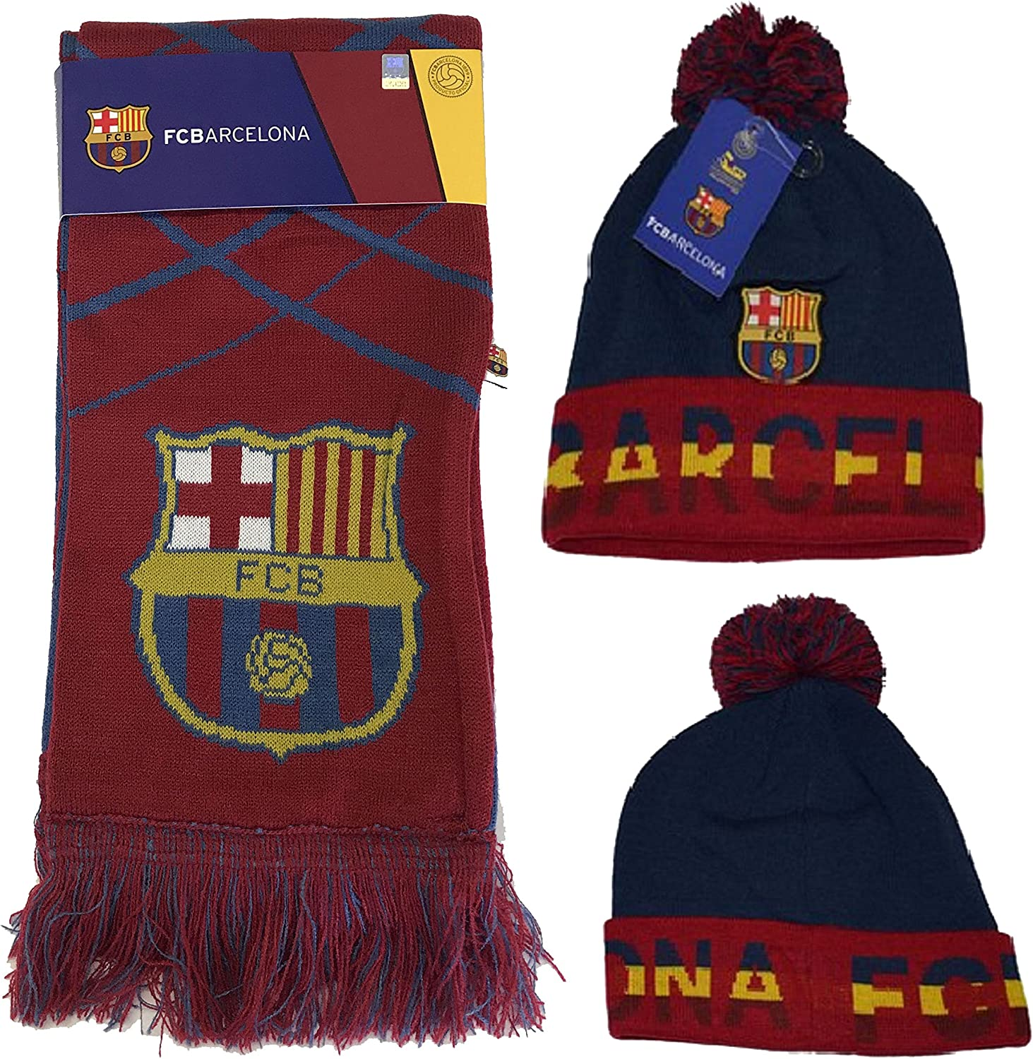 Fc Barcelona Set Beanie Pom Pom Skull Cap Hat and Scarf Reversible Season