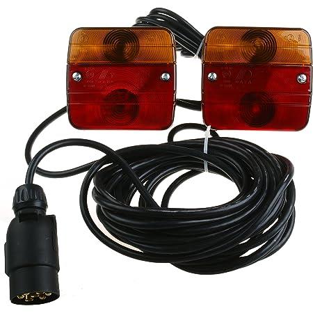 Stangenbeleuchtung 7 5 Meter Kabel 12 Volt Beleuchtung Anhängerbeleuchtung 7 5 Meter Kabellänge Anhänger Trecker Traktor Schlepper Stangenleuchte Baumarkt