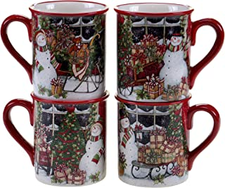 Certified International Snowman's Sleigh Mugs (Set of 4), 16 oz, Multicolor
