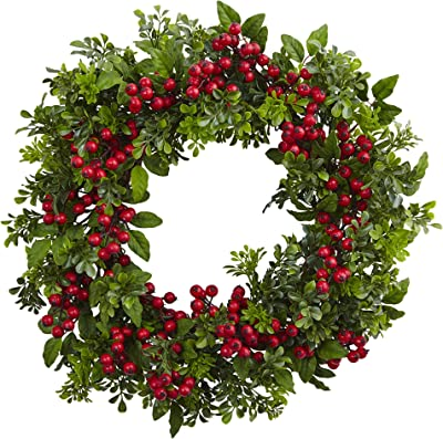 """Nearly Natural 4555 24"""" Berry Boxwood Wreath"""