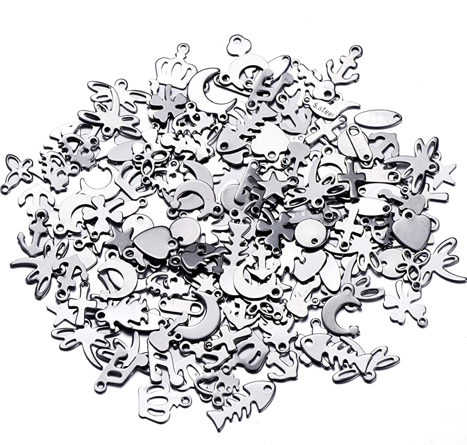 200pcs 304 Stainless Steel Blank Stamping Tag Mixed Shape Star Moon Cross Heart Key Charm Pendants with Snap on Bails for Bracelet Necklace Jewelry Making
