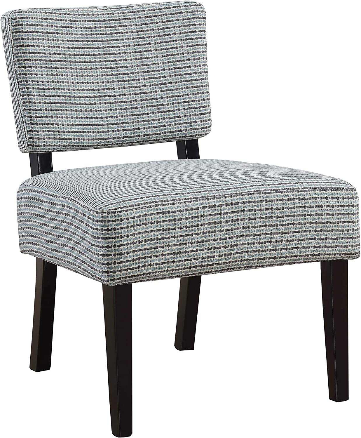 Monarch Specialties Accent Chair - Light bluee Grey Abstract Dot Fabric
