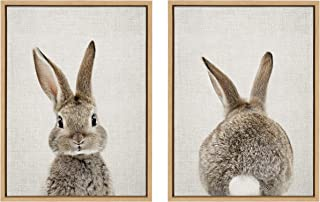 Kate and Laurel Sylvie Bunny Portrait and Bunny Tail Framed Canvas Wall Art by Amy Peterson, 18x24 Natural, Cute Baby Animal Art Decor