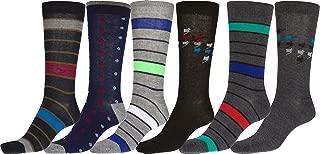 Men's Crew High Patterned Colorful Design Dress Socks Asst Value 6-Pack