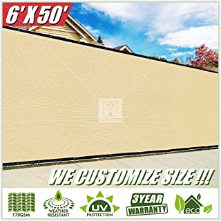 ColourTree 6' x 50' Beige Fence Privacy Screen Windscreen Cover Fabric Shade Tarp Netting Mesh Cloth - Commercial Grade 170 GSM - Heavy Duty - 3 Years Warranty - Custom
