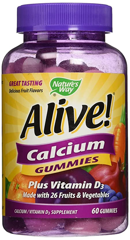 委員長シーケンスクラシックNature's Way Alive! Calcium Gummies Plus Vitamin D3 - 60 CT by Nature's Way