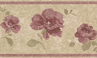 Purple Pink Roses Vintage Floral Wallpaper Border Retro Design, Roll 15' x 7''