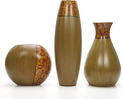 Hosley Set of 3 Burlwood Finish Vases is an Ideal Gift for Weddings or Special Occasion and for Home or Office Decor Floor Vases Spa Aromatherapy Settings O3