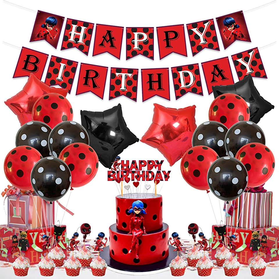 Ladybug Geburtstag Party Dekorationen, alles Gute zum Geburtstag Banner, Kuchen Topper, schwarz rot Latex Aluminium Folie Ballons, für wunderbare Marienkäfer Thema Bday Party Supplies