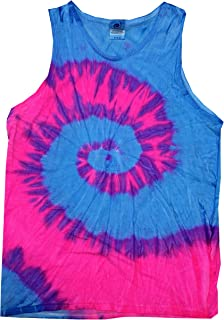 Tie Dye Tank Tops Sleeveless Athletic Muscle Shirts 100% Cotton Multicolor
