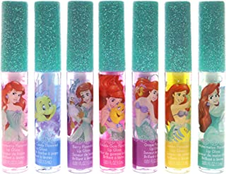 Disney Ariel Kids Washable Party Favor Lip Gloss, 7 Flavors include Cotton Candy, Strawberry, Berry, Bubble Gum, Grape, Lemon and Watermelon
