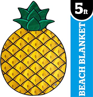 BigMouth Inc. Gigantic Pineapple Beach Blanket – Fun, 5' Wide Beach Blanket Perfect for the Beach, Pool, Lake and More, Machine Washable