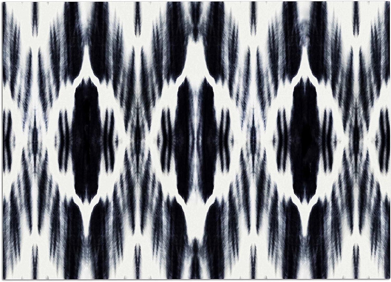 KESS InHouse MM1125ADM02 Nika Martinez Boheme Black White Ikat Dog Place Mat, 24  x 15