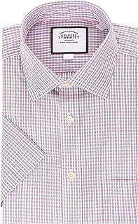 Charles Tyrwhitt Blue and Red Non-Iron Short Sleeve Classic Fit Mens Dress Shirt