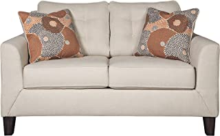 Signature Design by Ashley - Benissa Contemporary Loveseat w/ Button Tufted Back Cushions, Alabaster