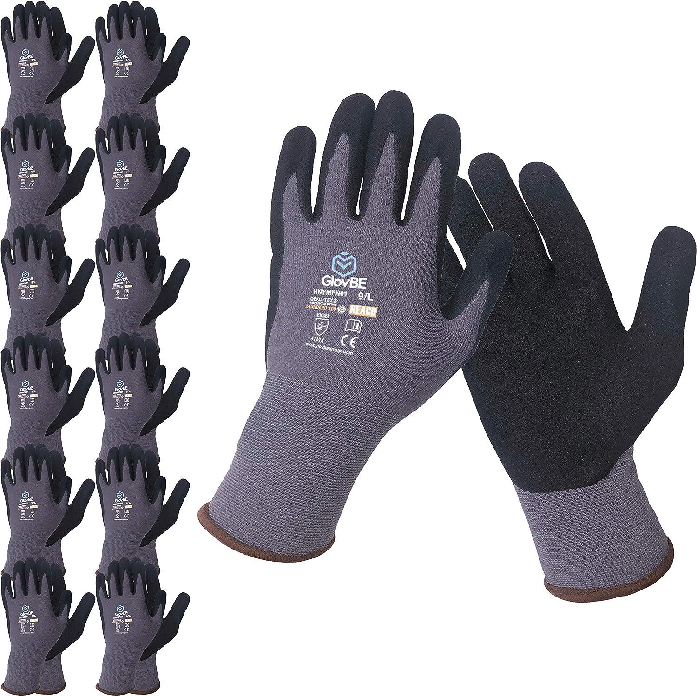 GlovBE 12 2021 Pairs Nylon Work Gloves Foam Micro Resis Slip Nitrile online shopping