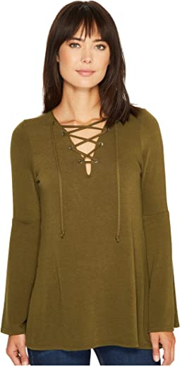 Lace-Up Bell Sleeve Top