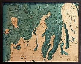 Grand Traverse Bay, Michigan 3-D Nautical Wood Chart, 24.5
