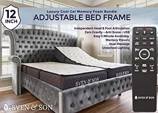"Sven & Son Split King Adjustable Bed Frame Base + 12"" Luxury Cool Gel Memory Foam Mattress, Head Up Foot Up, USB Ports, Zero Gravity, Interactive Dual Massage, Wireless, Classic (Split King)"