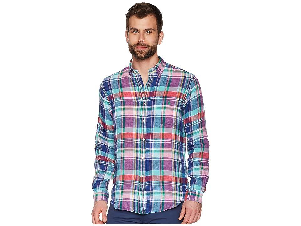 Polo Ralph Lauren Linen Long Sleeve Sport Shirt (Aegean Blue/Red Multi) Men