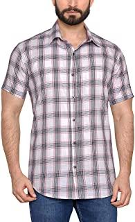 True United Checkered Casual Half Sleeves Shirts for Men