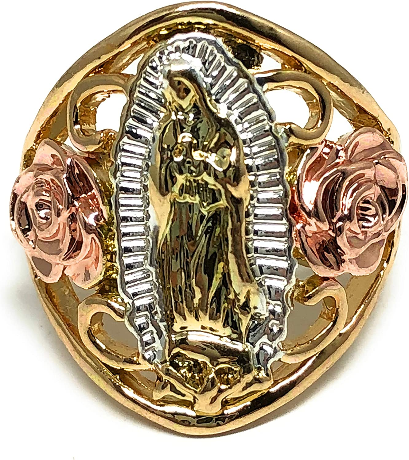 Fran & Co. Gold Plated Women's Tri-Color Virgin Mary Flower Ring Virgen de Guadalupe Anillo Flores