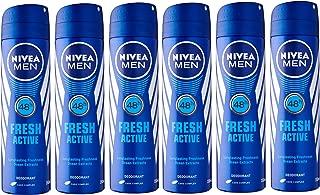 Nivea Men Deodorant Spray, Fresh Active 5.07 Ounce (Pack of 6)