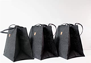 Love Triangles Collection Set of 3 Anti-Plastic Grocery Bags Jute BLACK Natural Reusable Gift Planters
