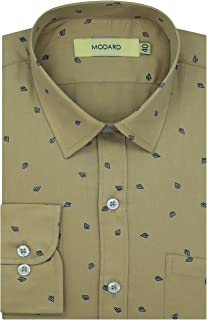 MODARD Printed 100% Giza Cotton Full Sleeves Regular Fit Formal Shirt for Men
