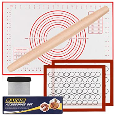 Silicone Baking Mat Set, Nonstick Dough Rolling Pastry Mat for Cookie Macaroon Pie Crust Pizza, Heat-resistant Silicone Baking Sheets for Oven, Silicon Macaroons Baking Mats with Rolling Pin Scraper