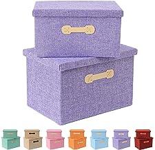 Enzk&Unity Foldable Storage Bins with Lids Linen Fabric Lidded Storage Baskets with Handle Organizer Box for Shelf Nursery...