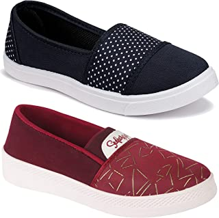 WORLD WEAR FOOTWEAR Women Multicolour Latest Collection Loafers Shoes-Pack of 2 (Combo-(2)-5029-11032)