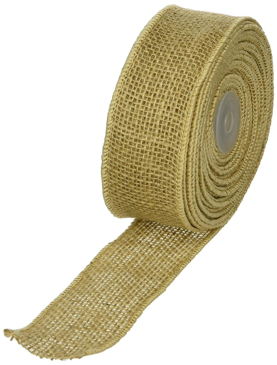 Burlap Wired Ribbon, Natural, 2