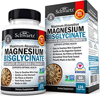 Magnesium Bisglycinate 100% Chelate No-Laxative Effect. Maximum Absorption & Bioavailability, Fully Reacted & Buffered. Sl...