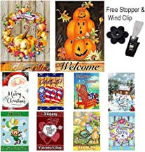Garden Flags Set of 10-12x18 Inches, Double Sided Yard Flag with Free Anti-Wind Clip and Stopper - Outdoor Decorative Holiday Flags Decorative Flags for Outside 12x18 November Garden Flag