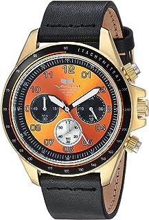Vestal 'ZR2' acero inoxidable y piel Casual reloj de cuarzo, color: negro (modelo: zr243l22.BK)