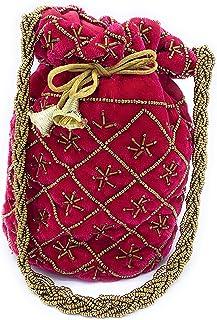 ADORA FASHION INDIAN HANDMADE POTLI/POUCH/CLUTCH ROUND SHAPE BAG FOR WOMEN ADORA ACI 108 PINK