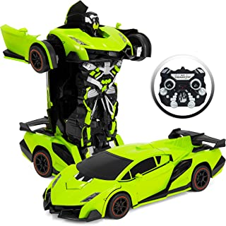Best Choice Products 1:16 Scale Kids Transforming RC Robot Race Car w/ LED Lights, Green