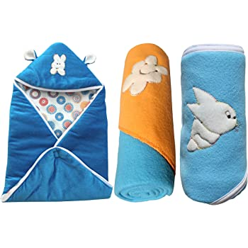 My Newborn Baby Fleece Hooded Blanket, Blue (Pack of 3)