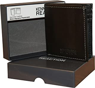 Reaction Men's Genuine Leather Passcase Wallet With Gift Box - Black