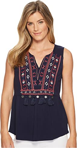 Tribal Sleeveless Embroidered Jersey Top