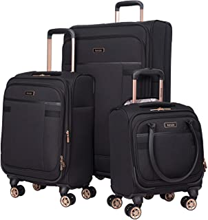kensie Women's Hudson Softside 3-Piece Spinner Luggage Set, Black with Rose Gold, (20/24/28)