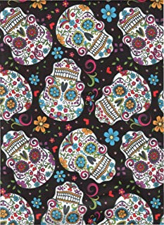 David Textiles Fabric Fun Folk Folkloric Art Skull Fabric DT-2888-2C Sugar Skulls Skull Tattoo Quilt Fabric 100% Cotton 45